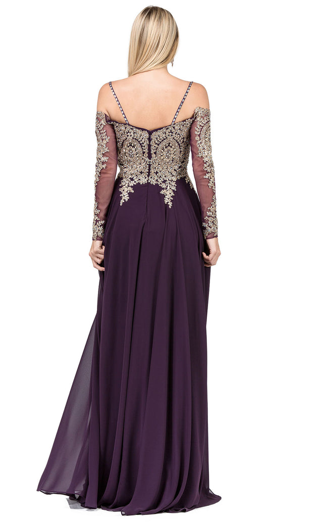 Dancing Queen - 2422 Embroidered Long Sleeve A-Line Gown In Purple