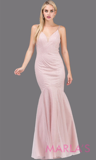 Simple long blush pink mermaid with tulle skirt, v neck, low open back & straps. This floor length tight fitted light pink gown is perfect as a prom dress, formal open back evening party dress, formal wedding guest dress. Plus sizes avail.