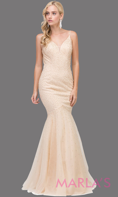 Simple long champagne gold mermaid with tulle skirt, v neck, low open back & straps. This floor length tight fitted light gold gown is perfect as a prom dress, formal open back evening party dress, formal wedding guest dress. Plus sizes avail.