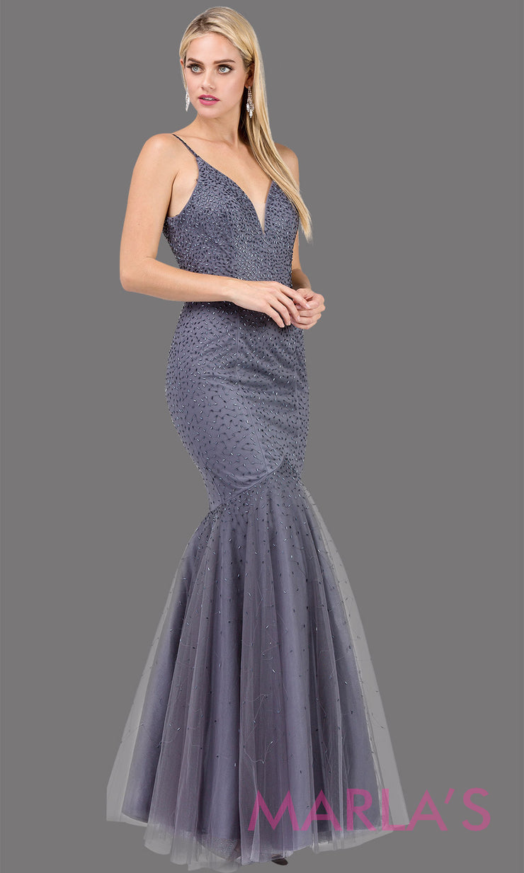 Simple long dark silver beaded mermaid with tulle skirt, v neck, low open back & straps. This floor length tight fitted dark gray gown is perfect as a prom dress, formal open back evening party dress, formal wedding guest dress. Plus sizes avail.