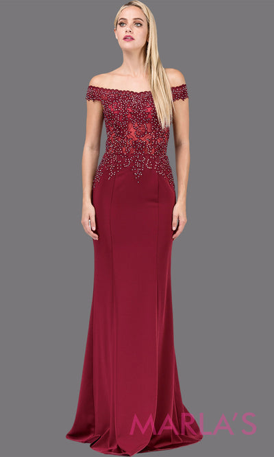 Long burgundy red off shoulder dress with lace top & key hole open back. This sleek & sexy dark red fitted dress is perfect as a prom dress, formal evening party dress, maroon bridesmaid dress, formal wedding guest gown. Plus sizes avail.