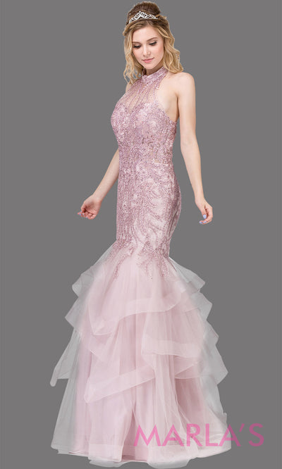 Long dusty pink high neck mermaid dress with lace, flouncy tulle skirt & open back.This beaded formal light pink evening gown is perfect as a mermaid pink prom dress, wedding reception dress, indowestern evening party gown. Plus sizes avail.