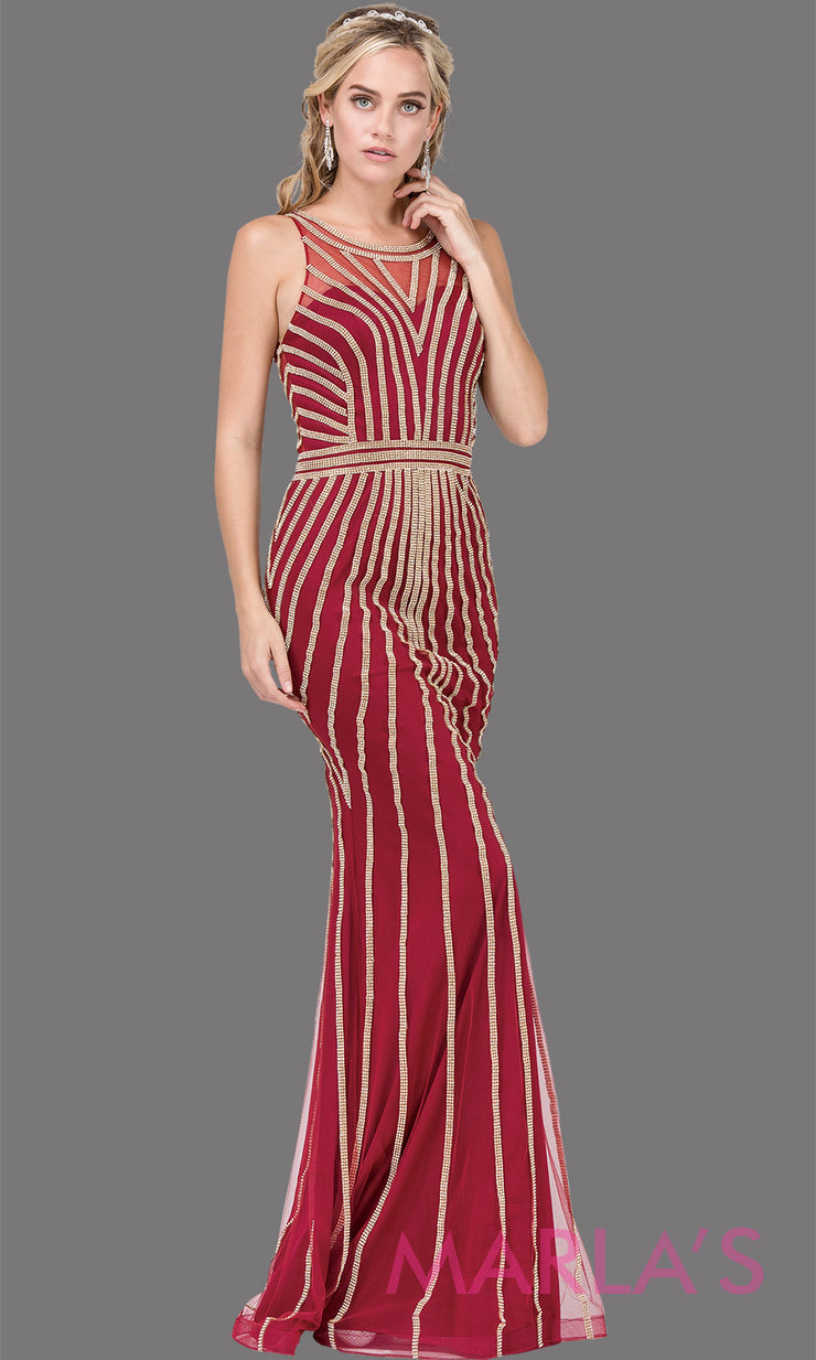 Long burgundy red with gold sequin beading high neck formal evening gown with a high back,wide straps & illusion neck.This red evening dress is perfect as a prom dress, indowestern formal party dress,engagement dress, reception dress. Plus sizes.