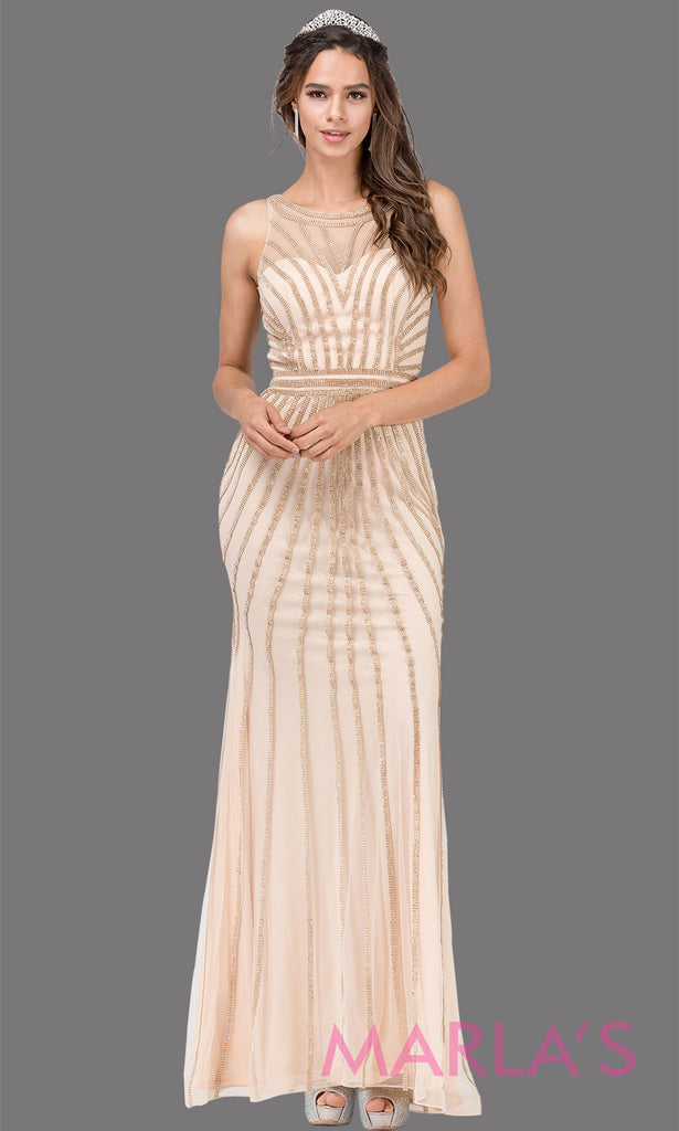 35898024a7 Long champagne gold sequin beaded high neck formal evening gown with a high  back