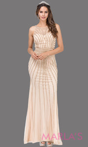 Long champagne gold sequin beaded high neck formal evening gown with a high back,wide straps, & illusion neck.This light gold evening dress is perfect as a prom dress, indowestern formal party dress, engagement dress, reception dress. Plus sizes.