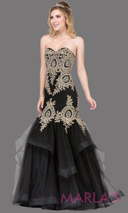 Long black mermaid formal evening strapless dress with gold lace beading, flouncy tulle skirt, & corset back. This black fitted evening dress is perfect as a mermaid prom dress, indowestern formal gown, engagement dress, wedding reception dress.