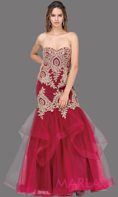 Long burgundy mermaid formal evening strapless dress with gold lace beading, flouncy tulle skirt, & corset back.This dark red fitted evening dress is perfect as a mermaid prom dress,indowestern formal gown,engagement dress,wedding reception dress.