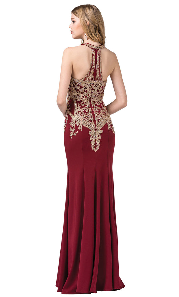 Dancing Queen - 2457 Embroidered Halter Neck Trumpet Dress In Red