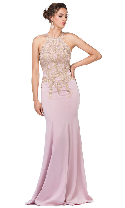 Dancing Queen - 2457 Embroidered Halter Neck Trumpet Dress In Pink