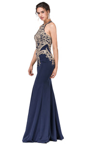 Dancing Queen - 2457 Embroidered Halter Neck Trumpet Dress In Blue
