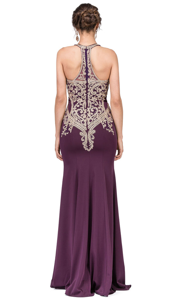 Dancing Queen - 2457 Embroidered Halter Neck Trumpet Dress In Purple