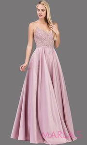 Long dusty pink simple taffeta semi ball gown with lace top & straps.This formal evening flowy dress is perfect as a light pink prom dress, indowestern pink evening gown, wedding guest dress, wedding reception or engagement dress.Plus sizes avail.