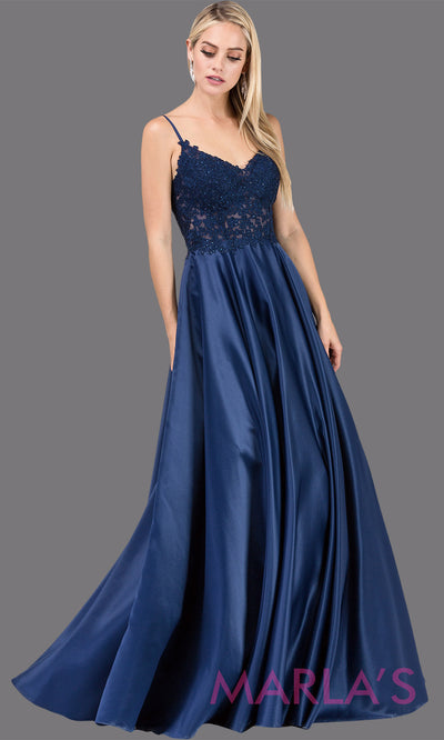 Long navy blue simple taffeta semi ball gown with lace top & straps.This formal evening flowy dress is perfect as a dark blue prom dress, indowestern navy evening gown, wedding guest dress, wedding reception or engagement dress.Plus sizes avail.