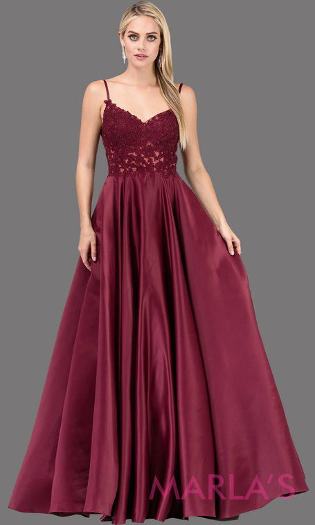 330769a5f75 Long wine simple taffeta semi ball gown with lace top   straps.This formal  evening