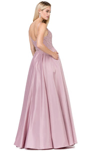 Dancing Queen - 2459A Spaghetti Strap Jeweled Lace A-Line Dress In Pink