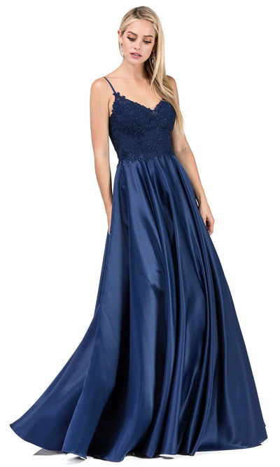 Dancing Queen - 2459A Spaghetti Strap Jeweled Lace A-Line Dress In Blue