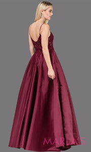 Long wine simple taffeta semi ball gown with lace top & straps.This formal evening flowy dress is perfect as a dark red prom dress, indowestern maroon evening gown, wedding guest dress, wedding reception or engagement dress.Plus sizes avail.