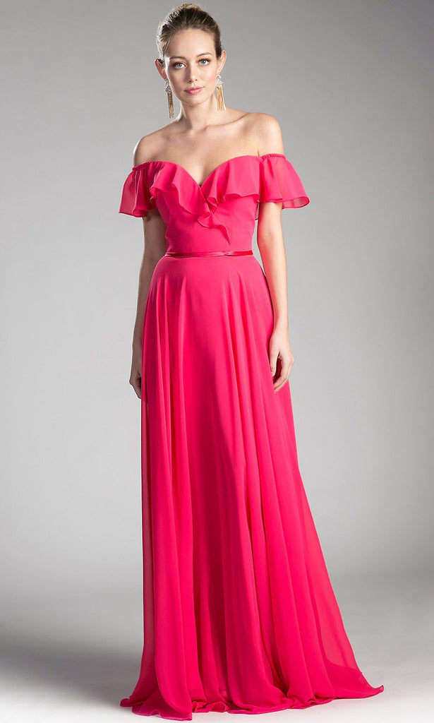 14826acedf long fuchsia pink off shoulder flowy dress. Perfect bright pink gown for  bridesmaids