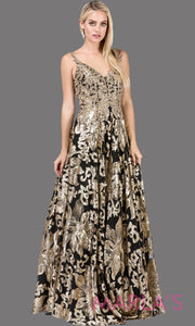 Long black & gold beaded semi ball gown with wide straps & sequins & lace.This formal evening dress is perfect as a black prom dress, indowestern black evening gown,formal wedding guest dress,wedding reception or engagement dress.Plus sizes avail.
