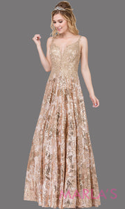 Long gold beaded semi ball gown with wide straps & sequins & lace.This formal evening dress is perfect as a gold prom dress, indowestern gold evening gown,formal wedding guest dress,wedding reception or engagement dress.Plus sizes avail.