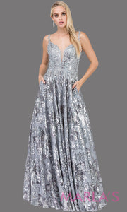 Long silver gray beaded semi ball gown with wide straps & sequins & lace.This formal evening dress is perfect as a light grey prom dress, indowestern evening gown,formal wedding guest dress,wedding reception or engagement dress.Plus sizes avail.