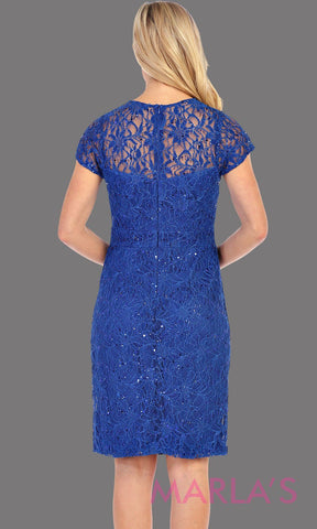 Short Royal Blue Cap Sleeve Lace Dress