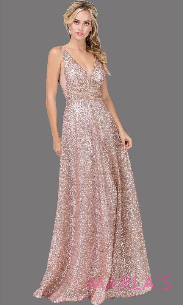 372e8ce187d Long dusty pink beaded semi ball gown with wide straps   glitter.This formal  evening ...