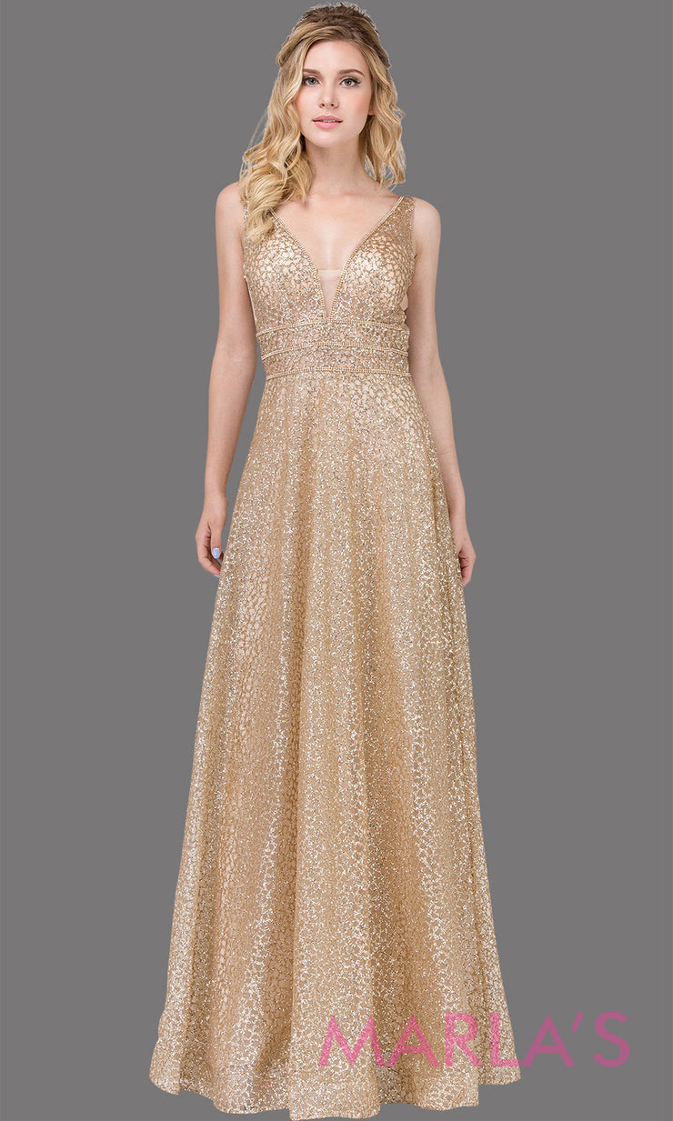 Long gold beaded semi ball gown with wide straps & glitter. This formal evening dress is perfect as a glitter gold prom dress, indowestern gold evening gown, formal wedding guest dress, wedding reception or engagement dress. Plus sizes avail.