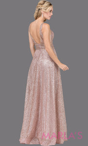 Long dusty pink beaded semi ball gown with wide straps & glitter.This formal evening dress is perfect as a glitter mauve prom dress, indowestern pink evening gown, formal wedding guest dress, wedding reception or engagement dress.Plus sizes avail.