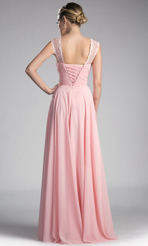 Long Blush Pleated Bodice Flowy Dress With Lace Straps