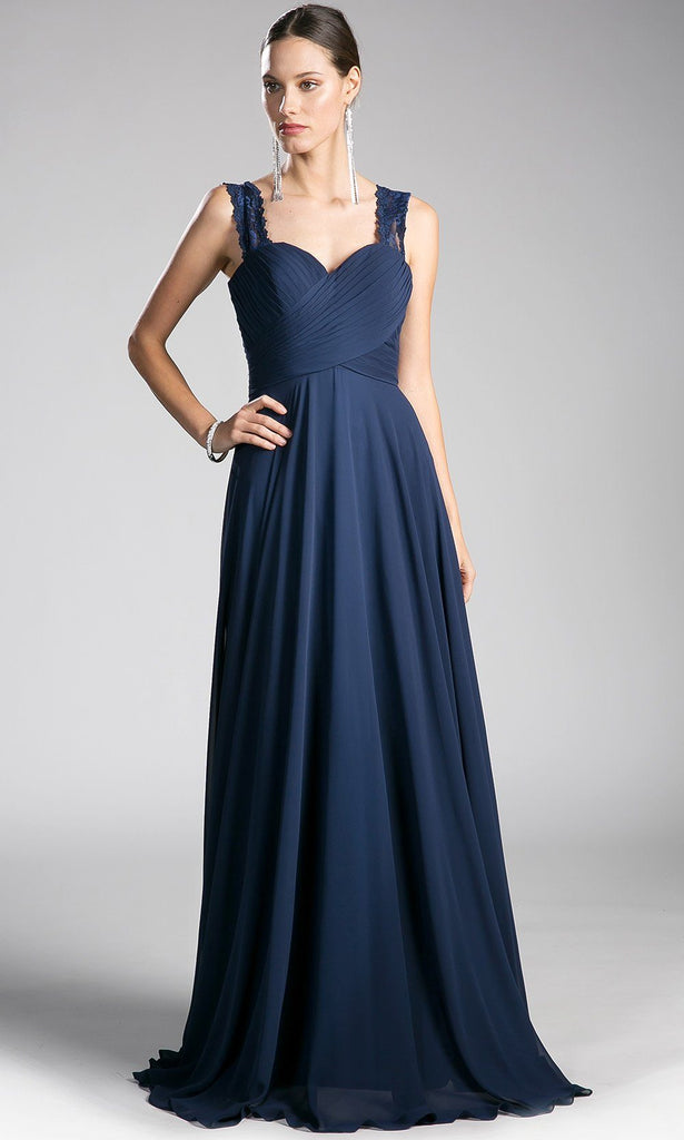 Long Navy Pleated Bodice Flowy Dress With Lace Straps