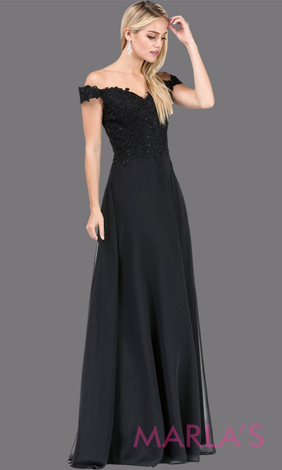 Long black off shoulder flowy simple party dress with lace top. This black formal evening gown is perfect as a prom dress, bridesmaid dress, formal wedding guest dress, maid of honour dress, indowestern black party dress. Plus sizes avail.