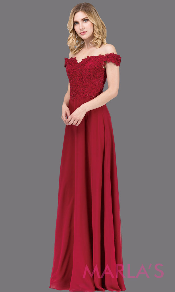 c11ce439960d This formal dark Long dark plum off shoulder flowy simple party dress with  lace top.