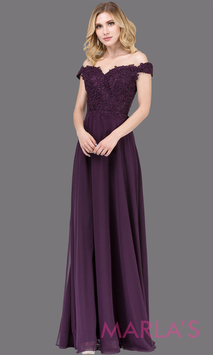 Long dark plum off shoulder flowy simple party dress with lace top. This formal dark purple evening gown is perfect as a prom dress, bridesmaid dress, formal wedding guest dress, maid of honour dress, indowestern party dress. Plus sizes avail.