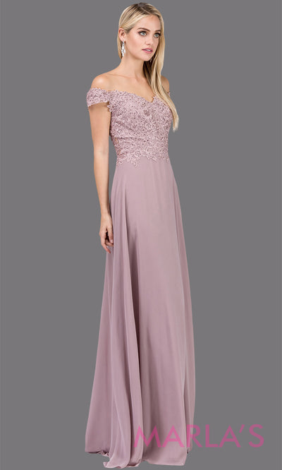 Long dusty pink off shoulder flowy simple party dress with lace top.This mauve formal evening gown is perfect as a prom dress, bridesmaid dress, formal wedding guest dress, maid of honour dress, indowestern pink party dress. Plus sizes avail.
