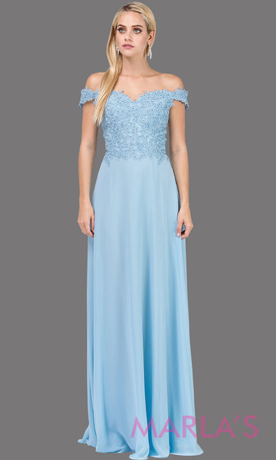 Long perwinkle blue off shoulder flowy simple party dress with lace top. This formal evening gown is perfect as a prom dress, bridesmaid dress, formal wedding guest dress, maid of honour dress, indowestern light blue party dress. Plus sizes avail.
