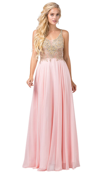 Dancing Queen - 2494 Beaded Gold Applique Bodice A-Line Gown In Pink