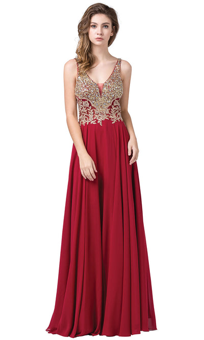 Dancing Queen - 2494 Beaded Gold Applique Bodice A-Line Gown In Burgundy