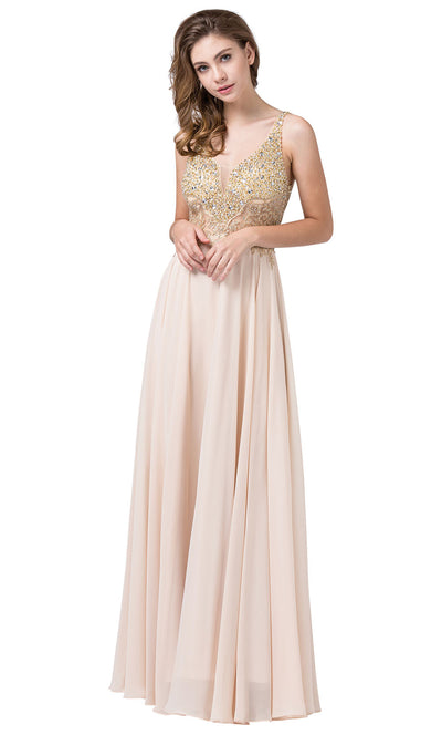 Dancing Queen - 2494 Beaded Gold Applique Bodice A-Line Gown In Champagne & Gold
