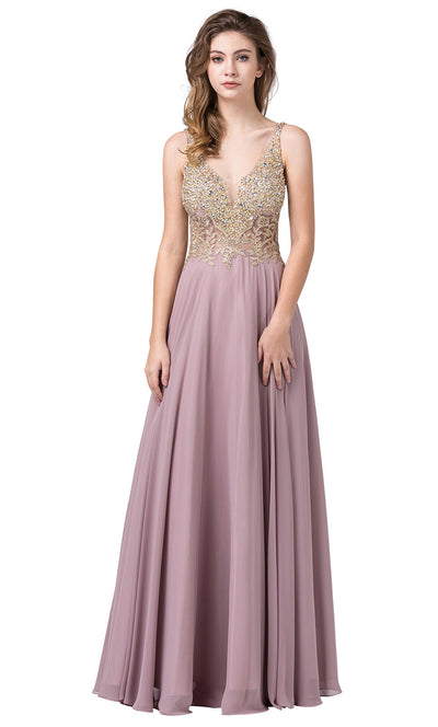 Dancing Queen - 2494 Beaded Gold Applique Bodice A-Line Gown In Brown