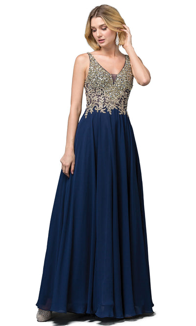 Dancing Queen - 2494 Beaded Gold Applique Bodice A-Line Gown In Blue