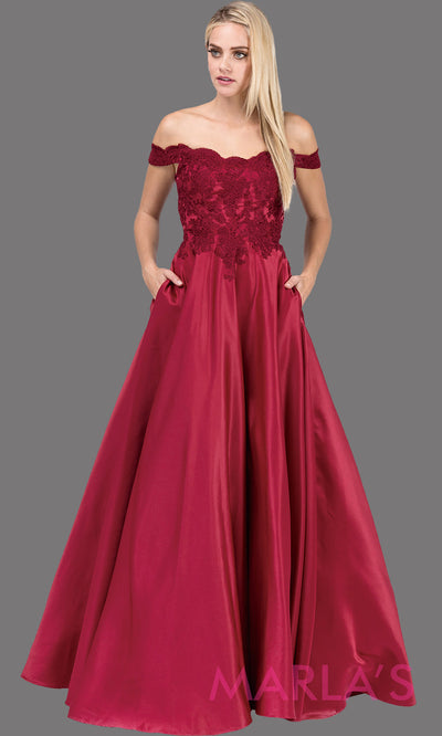Long burgundy red off shoulder semi ball gown dress with satin skirt & pockets & lace top. This dark red floor length gown is perfect as a maroon semi ballgown prom dress, bridesmaid dresses, sweet 16, wedding engagement dress, plus sizes avail.
