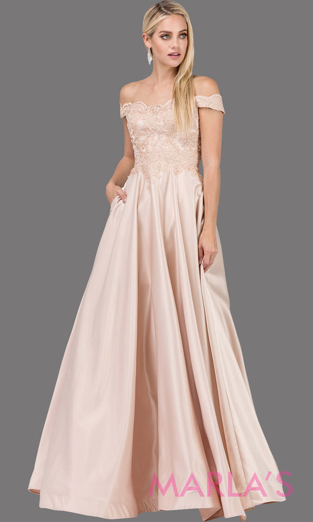 41131203b77f1 Long champagne gold off shoulder semi ball gown dress with satin skirt    pockets   lace ...