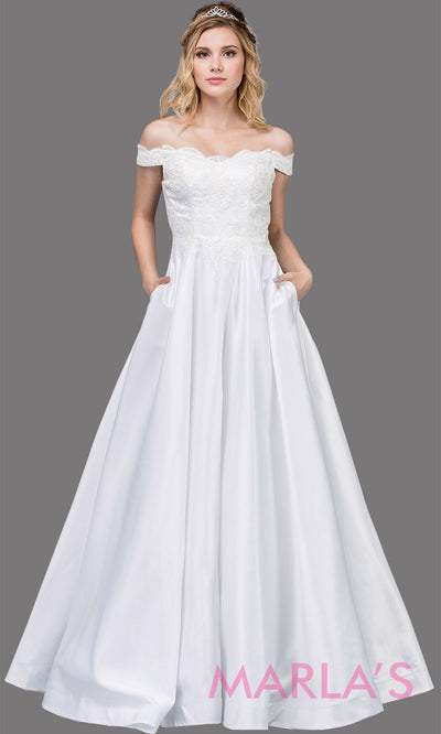 Long white off shoulder semi ball gown dress with satin skirt, pockets & lace top. This white floor length gown is perfect as a white semi ballgown prom dress, bridesmaid dresses, bridal dress, wedding engagement or reception.Plus sizes avail.