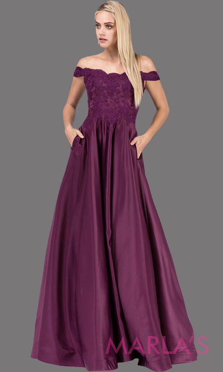 Long wine off shoulder semi ball gown dress with satin skirt & pockets & lace top.This dark purple floor length gown