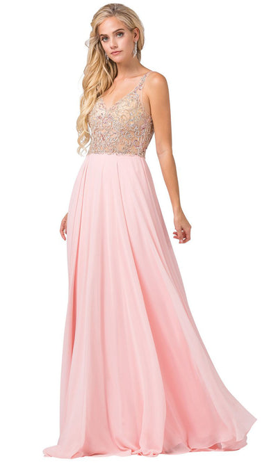 Dancing Queen - 2513 Beaded V Neck A-Line Dress In Pink
