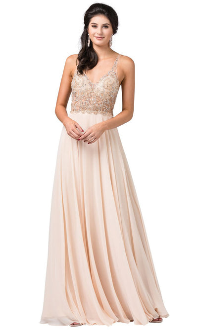 Dancing Queen - 2513 Beaded V Neck A-Line Dress In Neutral