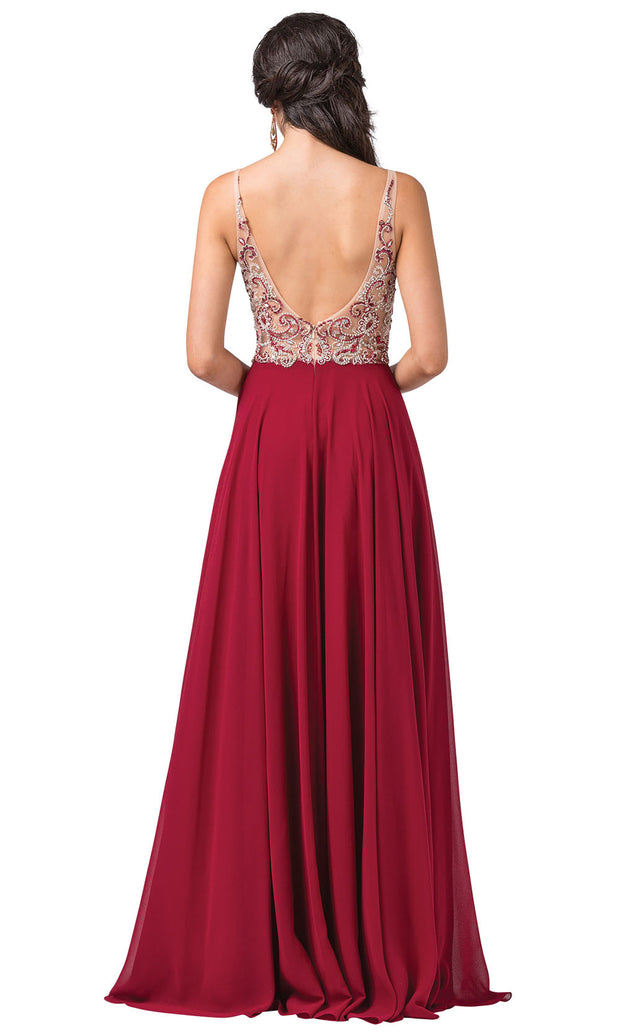 Dancing Queen - 2513 Beaded V Neck A-Line Dress In Red