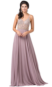 Dancing Queen - 2513 Beaded V Neck A-Line Dress In Brown