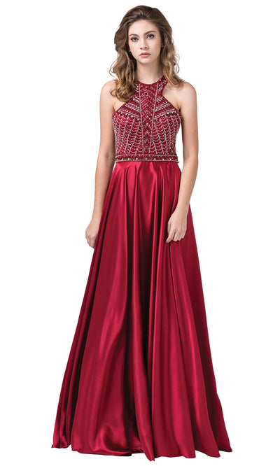 Dancing Queen - 2518 Embellished Halter Neck A-Line Gown In Red